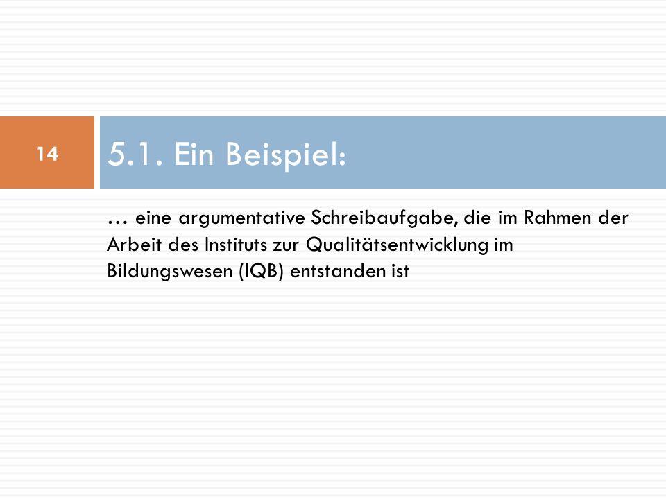 … eine argumentative Schreibaufgabe, die im Rahmen der Arbeit des Instituts zur Qualitätsentwicklung im Bildungswesen (IQB) entstanden ist 5.1.
