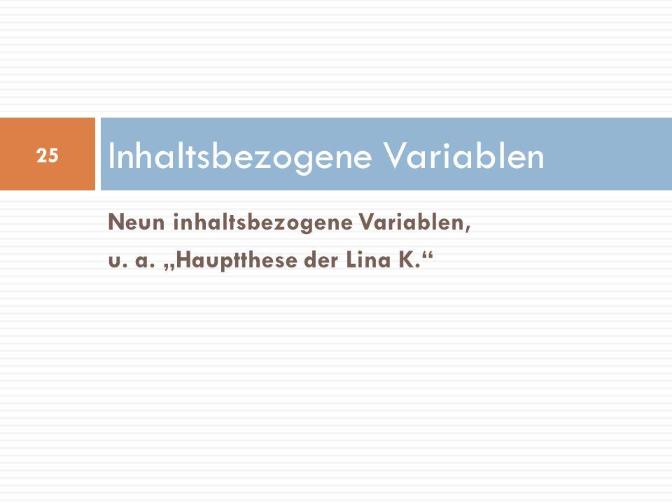 Inhaltsbezogene Variablen Neun inhaltsbezogene Variablen, u. a. Hauptthese der Lina K. 25