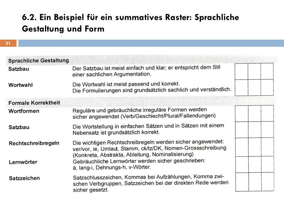 6.2. Ein Beispiel für ein summatives Raster: Sprachliche Gestaltung und Form 31