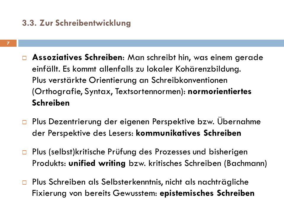 3.3.Zur Schreibentwicklung 7 Assoziatives Schreiben: Man schreibt hin, was einem gerade einfällt.