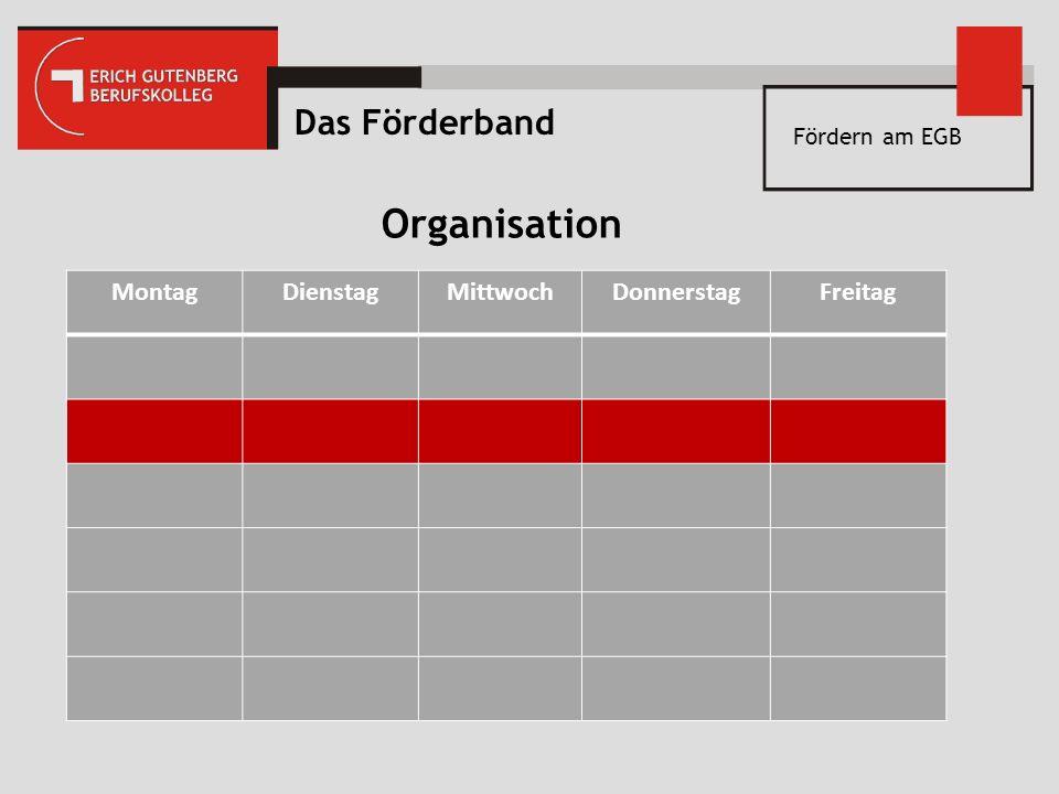 Fördern am EGB MontagDienstagMittwochDonnerstagFreitag Das Förderband Organisation