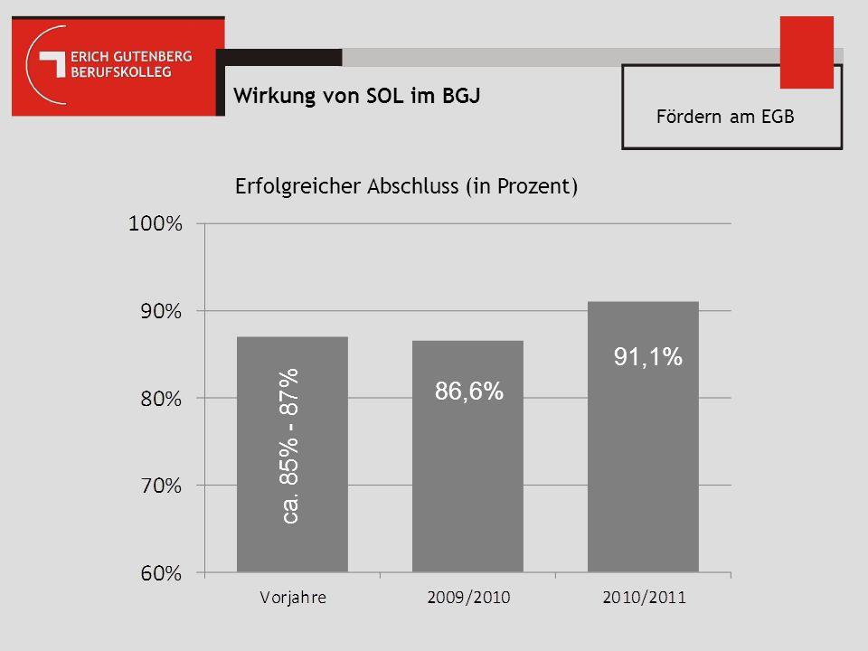 Wirkung von SOL im BGJ 86,6% 91,1% ca. 85% - 87% Erfolgreicher Abschluss (in Prozent) Fördern am EGB