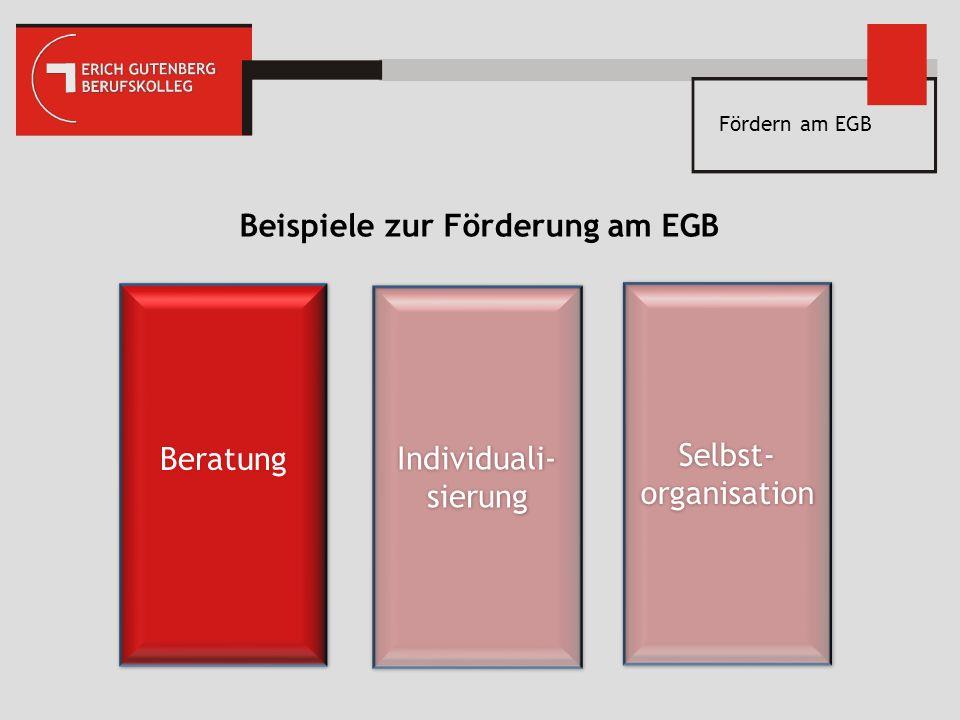 Fördern am EGB Beispiele zur Förderung am EGB Beratung Individuali- sierung Selbst- organisation