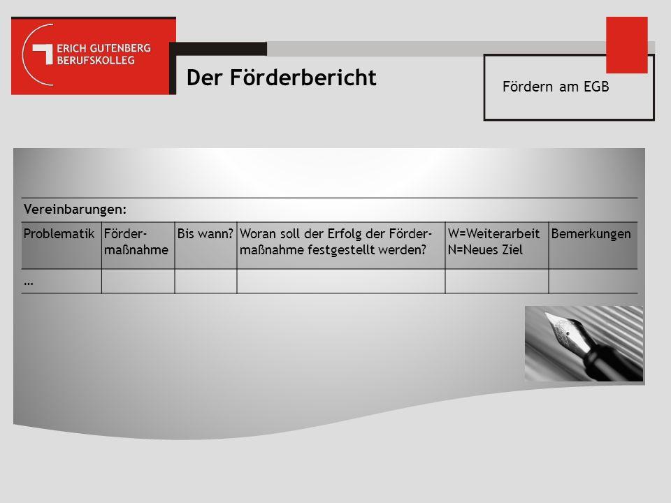Fördern am EGB Der Förderbericht Vereinbarungen: ProblematikFörder- maßnahme Bis wann?Woran soll der Erfolg der Förder- maßnahme festgestellt werden?