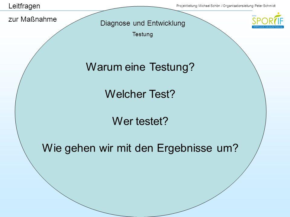 Projektleitung: Michael Schön / Organisationsleitung: Peter Schmidt Diagnose und Entwicklung Testung Leitfragen zur Maßnahme Warum eine Testung? Welch