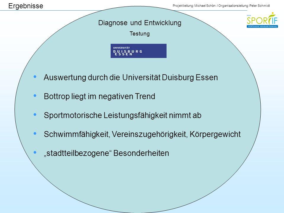 Projektleitung: Michael Schön / Organisationsleitung: Peter Schmidt Diagnose und Entwicklung Testung Auswertung durch die Universität Duisburg Essen B