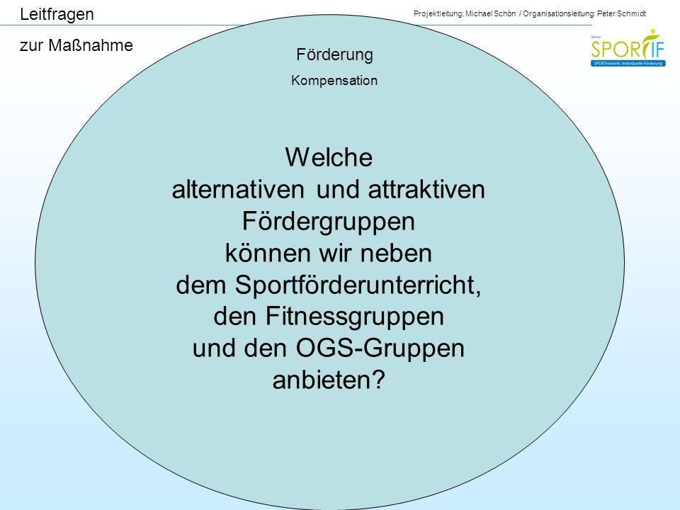 Projektleitung: Michael Schön / Organisationsleitung: Peter Schmidt Förderung Kompensation Leitfragen zur Maßnahme Welche alternativen und attraktiven