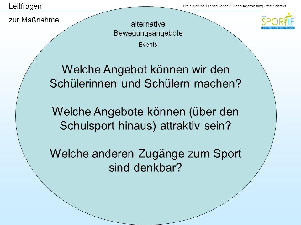 Projektleitung: Michael Schön / Organisationsleitung: Peter Schmidt alternative Bewegungsangebote Events Leitfragen zur Maßnahme Welche Angebot können