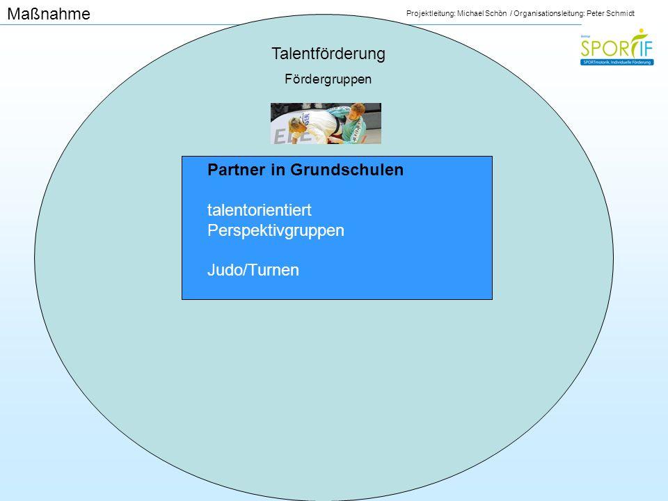 Projektleitung: Michael Schön / Organisationsleitung: Peter Schmidt Talentförderung Fördergruppen Partner in Grundschulen talentorientiert Perspektivg