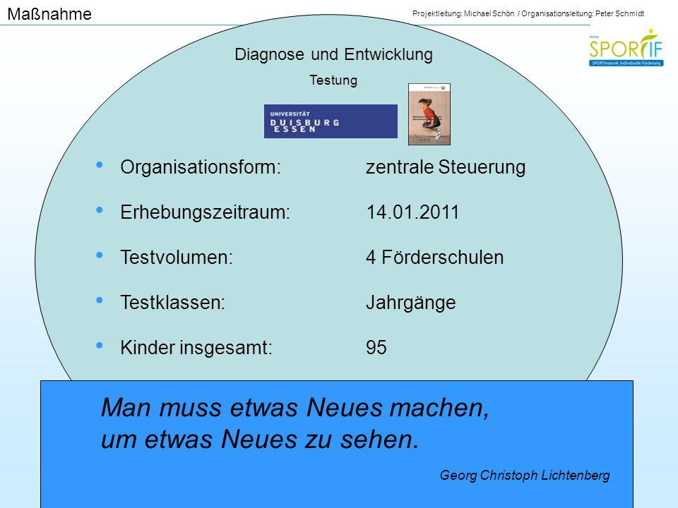 Projektleitung: Michael Schön / Organisationsleitung: Peter Schmidt Diagnose und Entwicklung Testung Organisationsform:zentrale Steuerung Erhebungszei