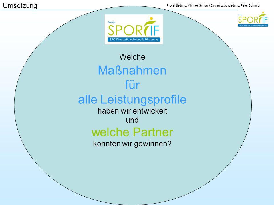 Projektleitung: Michael Schön / Organisationsleitung: Peter Schmidt Umsetzung Welche Maßnahmen für alle Leistungsprofile haben wir entwickelt und welc