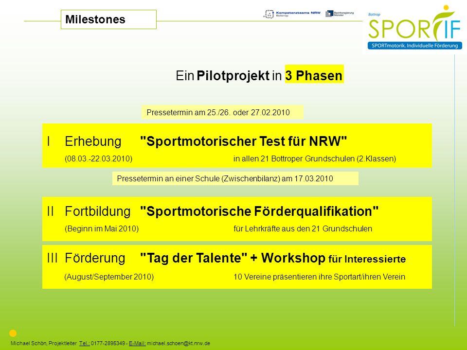 Michael Schön, Projektleiter Tel.: 0177-2895349 - E-Mail: michael.schoen@kt.nrw.de Ein Pilotprojekt in 3 Phasen I Erhebung