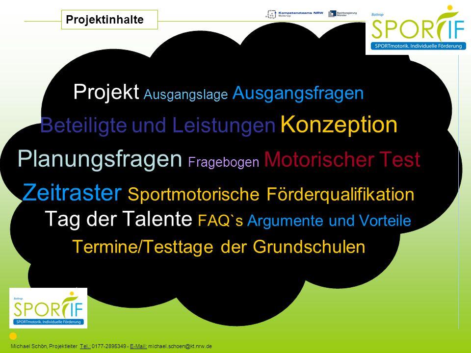 Michael Schön, Projektleiter Tel.: 0177-2895349 - E-Mail: michael.schoen@kt.nrw.de Projekt Ausgangslage Ausgangsfragen Beteiligte und Leistungen Konze