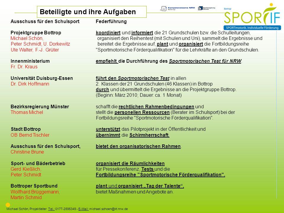 Michael Schön, Projektleiter Tel.: 0177-2895349 - E-Mail: michael.schoen@kt.nrw.de Ausschuss für den SchulsportFederführung Projektgruppe Bottropkoord