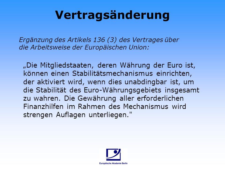 Vertragsänderung Die Mitgliedstaaten, deren Währung der Euro ist, können einen Stabilitätsmechanismus einrichten, der aktiviert wird, wenn dies unabdi