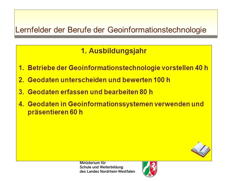 Lernfelder der Berufe der Geoinformationstechnologie 1. Ausbildungsjahr 1.Betriebe der Geoinformationstechnologie vorstellen 40 h 2.Geodaten untersche