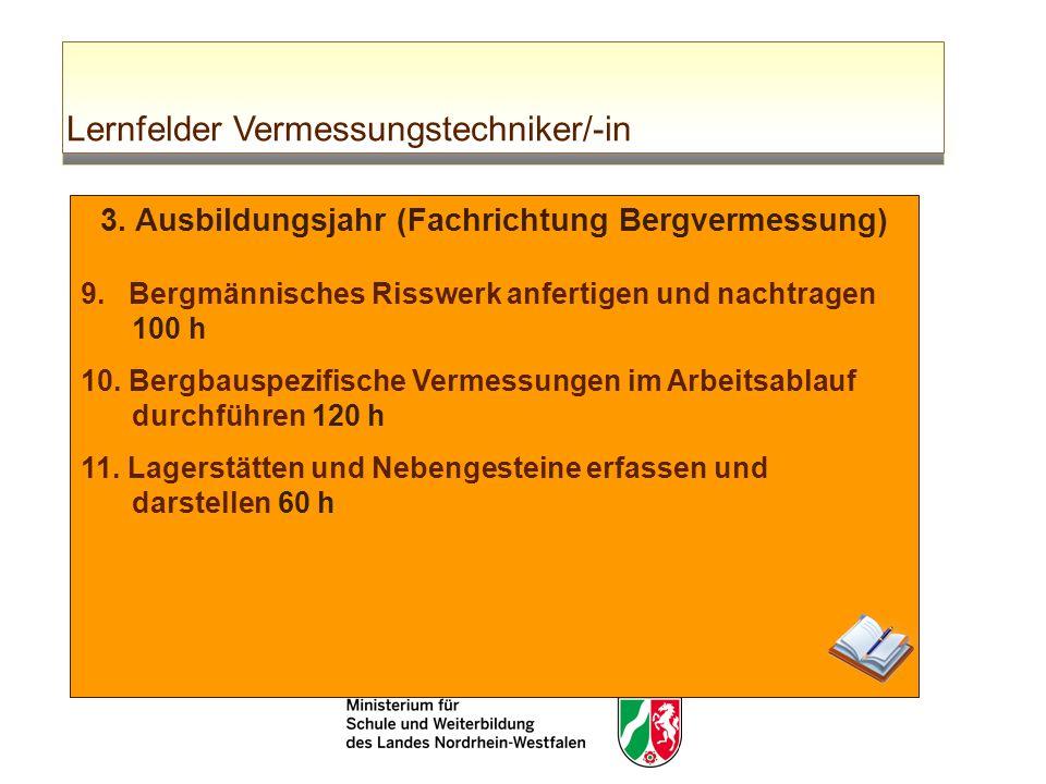 Lernfelder Vermessungstechniker/-in 3. Ausbildungsjahr (Fachrichtung Bergvermessung) 9. Bergmännisches Risswerk anfertigen und nachtragen 100 h 10. Be