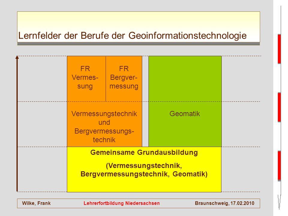 Wilke, Frank Lehrerfortbildung NiedersachsenBraunschweig, 17.02.2010 Lernfelder der Berufe der Geoinformationstechnologie Gemeinsame Grundausbildung (