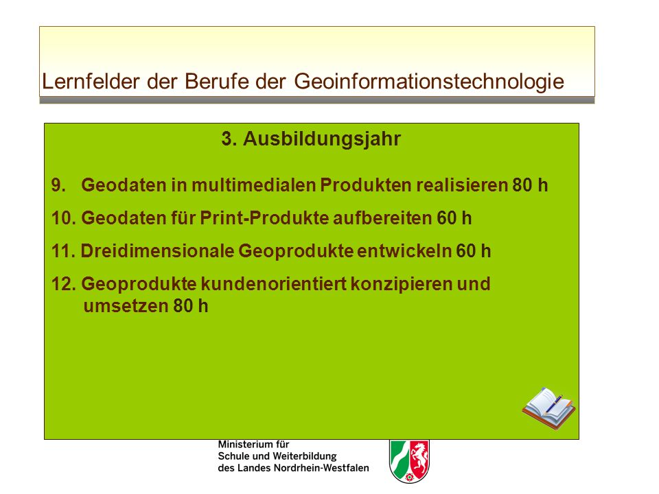 Lernfelder der Berufe der Geoinformationstechnologie 3. Ausbildungsjahr 9. Geodaten in multimedialen Produkten realisieren 80 h 10. Geodaten für Print