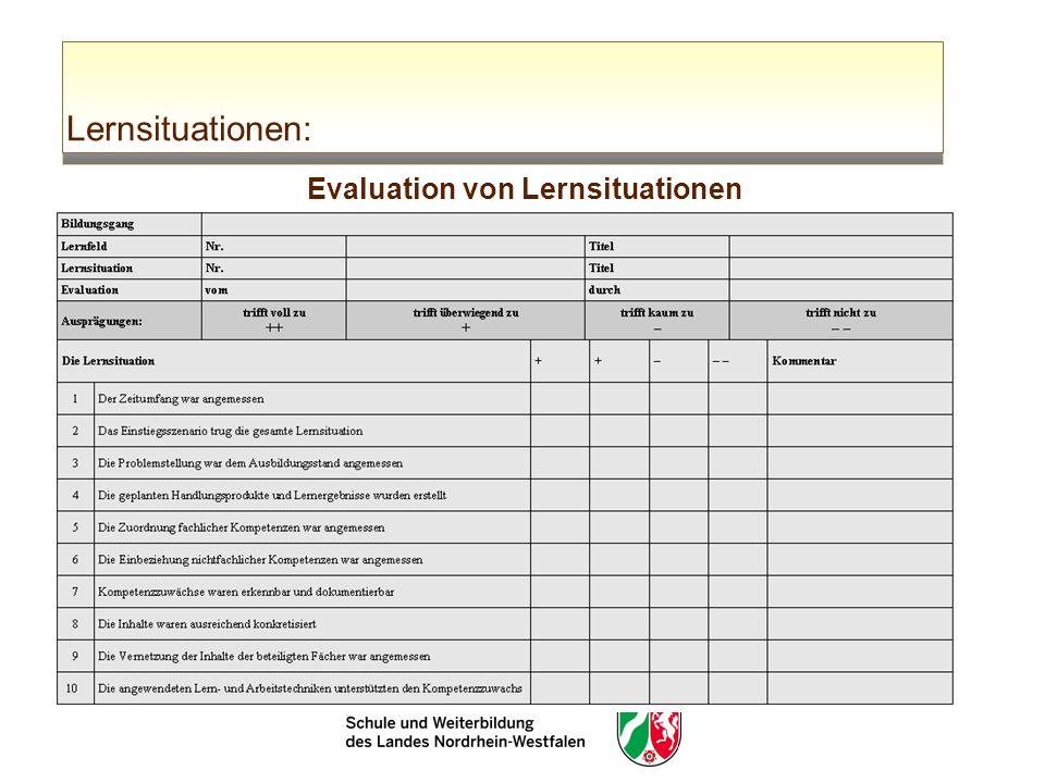Lernsituationen: Evaluation von Lernsituationen