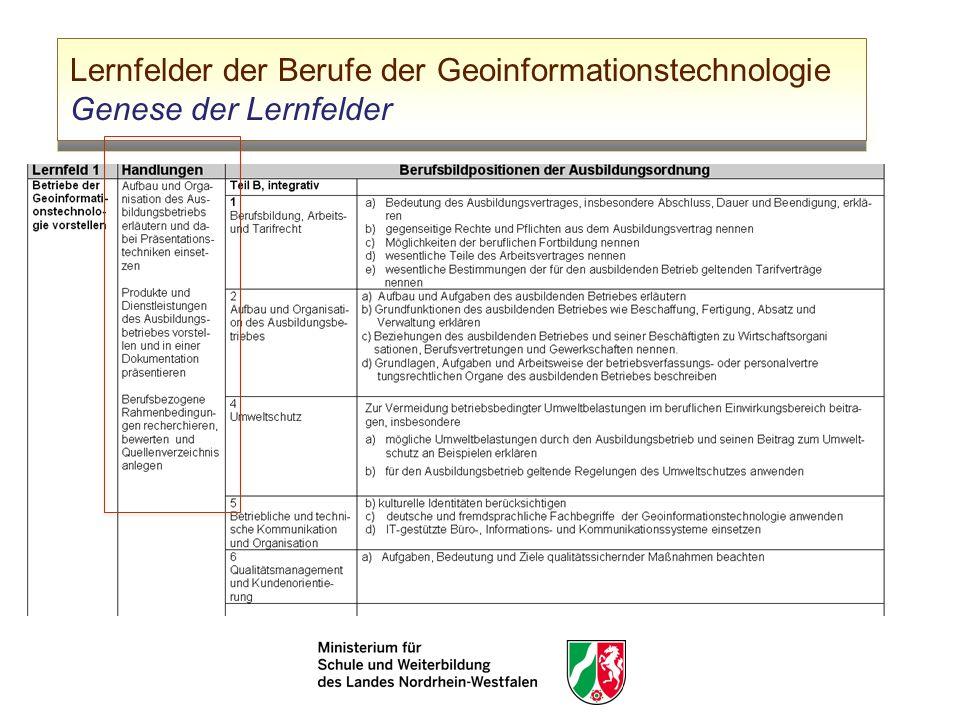 Lernfelder der Berufe der Geoinformationstechnologie Genese der Lernfelder