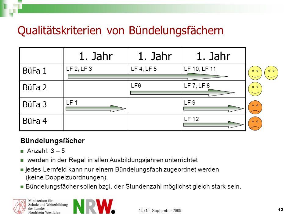 13 14./15. September 2009 Qualitätskriterien von Bündelungsfächern 1. Jahr BüFa 1 LF 2, LF 3LF 4, LF 5LF 10, LF 11 BüFa 2 LF6LF 7, LF 8 BüFa 3 LF 1LF