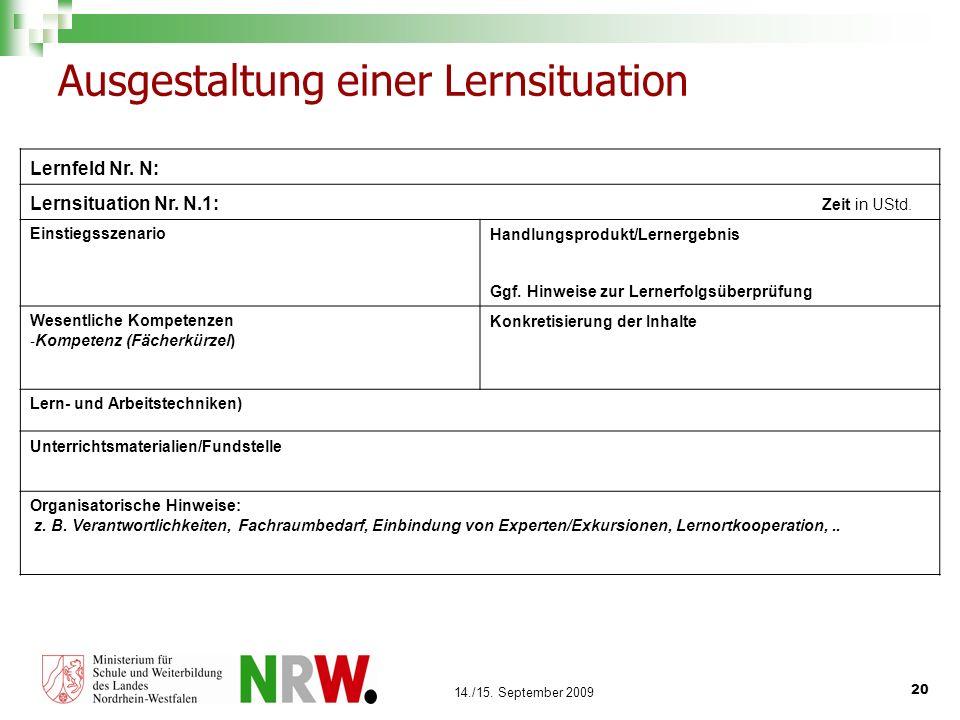 20 14./15. September 2009 Ausgestaltung einer Lernsituation Lernfeld Nr. N: Lernsituation Nr. N.1: Zeit in UStd. EinstiegsszenarioHandlungsprodukt/Ler