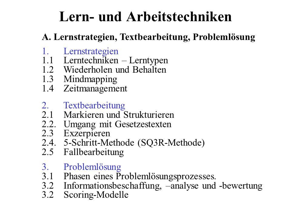 Lern- und Arbeitstechniken 1. Lernstrategien 1.1 Lerntechniken – Lerntypen 1.2 Wiederholen und Behalten 1.3 Mindmapping 1.4 Zeitmanagement 2. Textbear