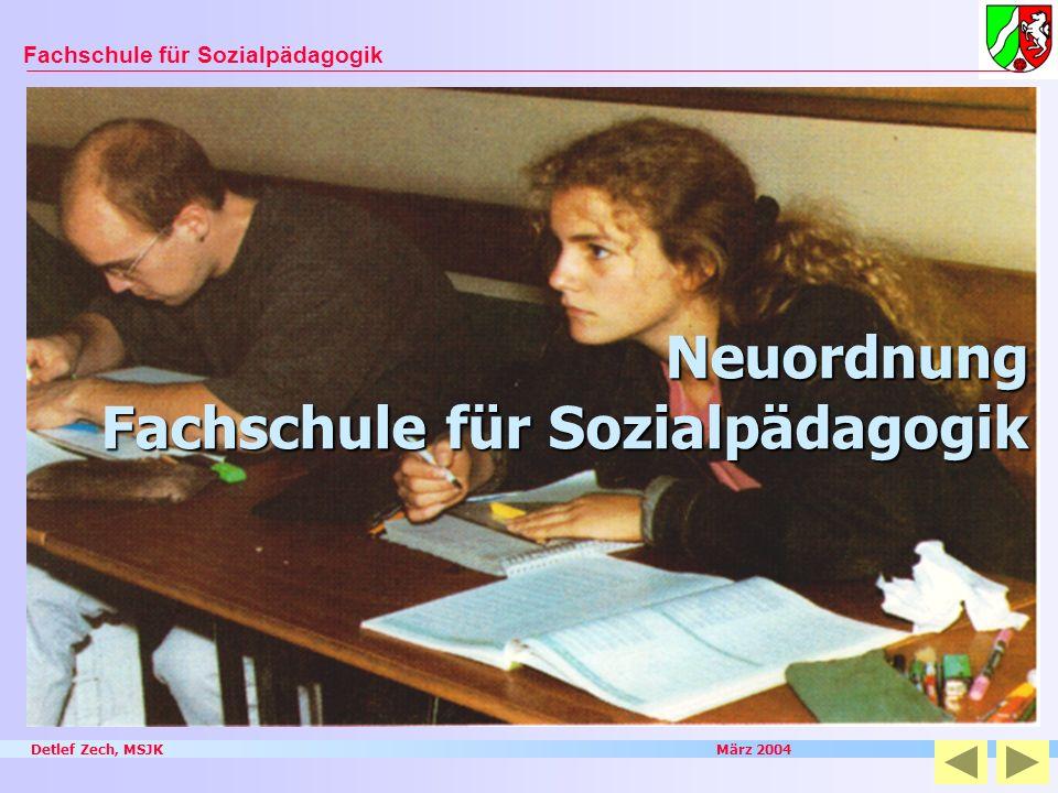Detlef Zech, MSJK März 2004 Fachschule für Sozialpädagogik Neuordnung Fachschule für Sozialpädagogik