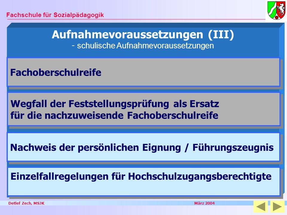 Detlef Zech, MSJK März 2004 Fachschule für Sozialpädagogik Aufnahmevoraussetzungen (III) - schulische Aufnahmevoraussetzungen Wegfall der Feststellung