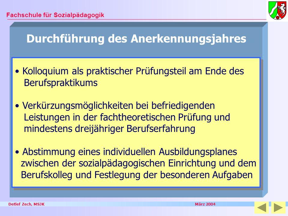 Detlef Zech, MSJK März 2004 Fachschule für Sozialpädagogik Durchführung des Anerkennungsjahres Kolloquium als praktischer Prüfungsteil am Ende des Ber