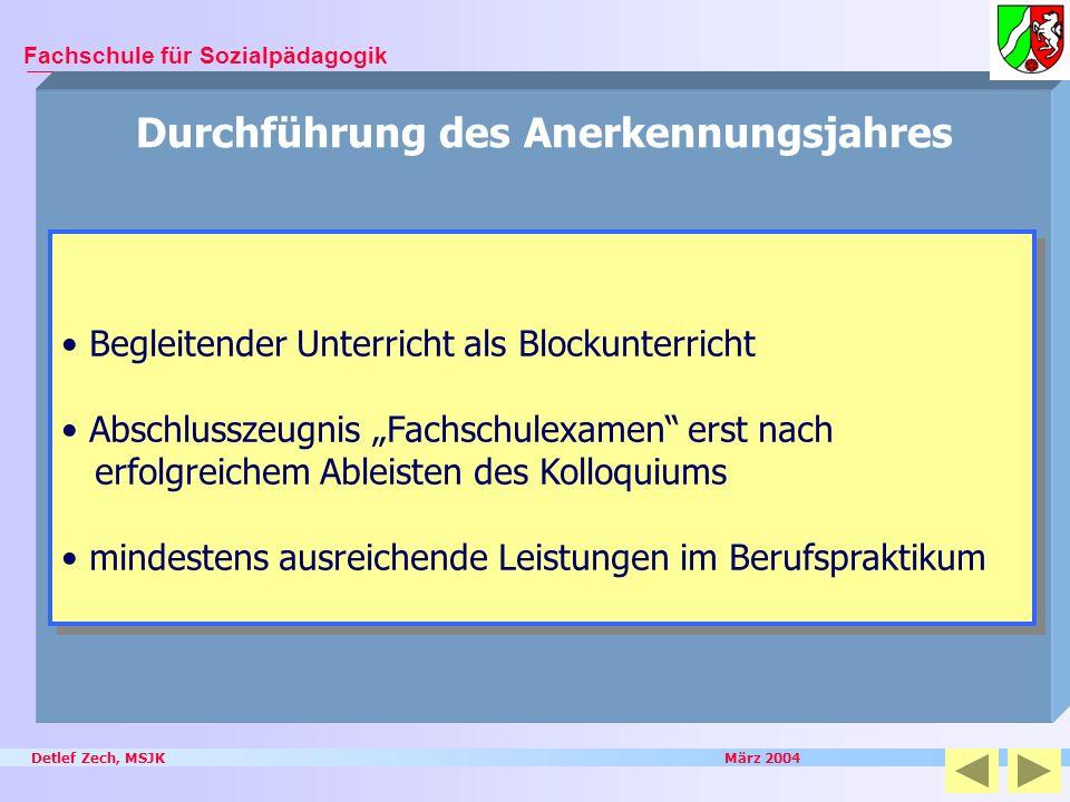 Detlef Zech, MSJK März 2004 Fachschule für Sozialpädagogik Durchführung des Anerkennungsjahres Begleitender Unterricht als Blockunterricht Abschlussze