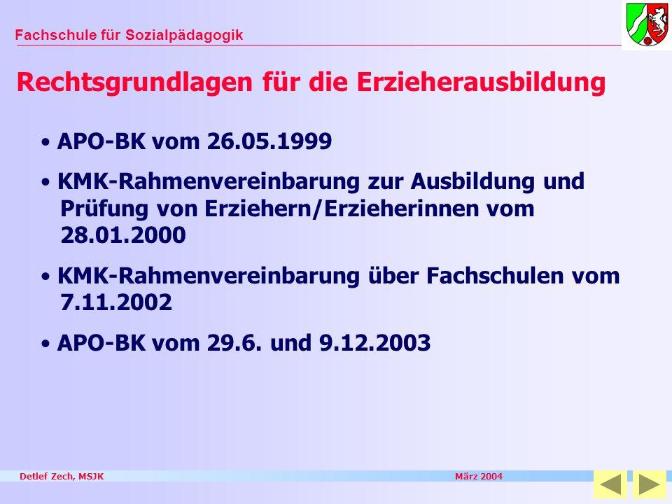 Detlef Zech, MSJK März 2004 Fachschule für Sozialpädagogik APO-BK vom 26.05.1999 KMK-Rahmenvereinbarung zur Ausbildung und Prüfung von Erziehern/Erzie