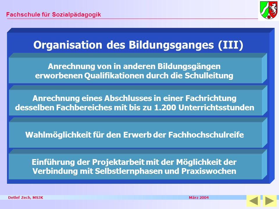 Detlef Zech, MSJK März 2004 Fachschule für Sozialpädagogik Organisation des Bildungsganges (III) Anrechnung von in anderen Bildungsgängen erworbenen Q