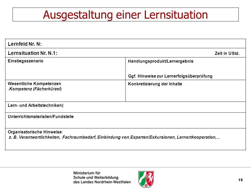 15 Ausgestaltung einer Lernsituation Lernfeld Nr. N: Lernsituation Nr. N.1: Zeit in UStd. EinstiegsszenarioHandlungsprodukt/Lernergebnis Ggf. Hinweise