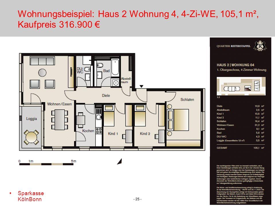 s Sparkasse KölnBonn - 25 - Wohnungsbeispiel: Haus 2 Wohnung 4, 4-Zi-WE, 105,1 m², Kaufpreis 316.900
