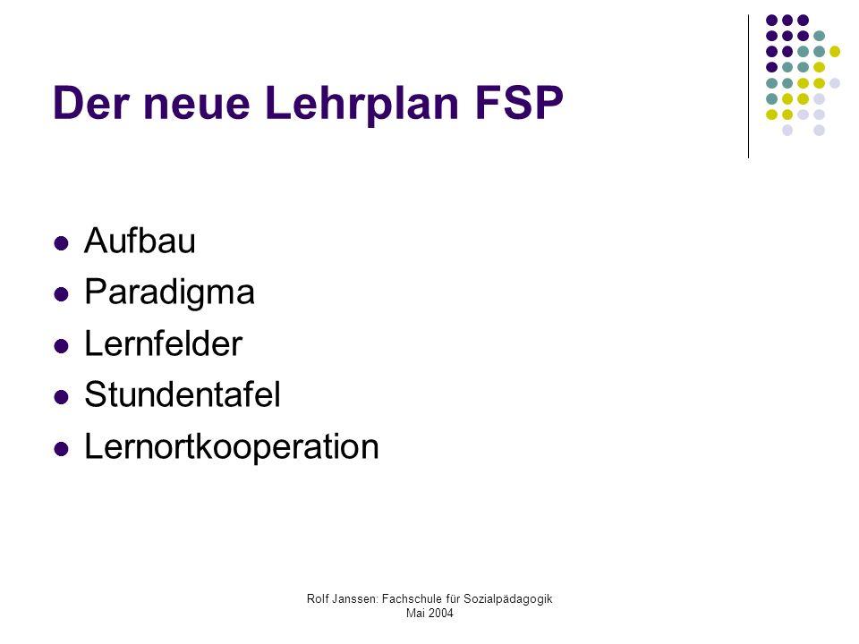 Rolf Janssen: Fachschule für Sozialpädagogik Mai 2004 Der neue Lehrplan FSP Aufbau Paradigma Lernfelder Stundentafel Lernortkooperation