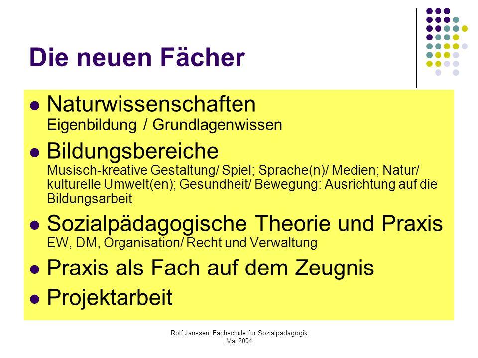 Rolf Janssen: Fachschule für Sozialpädagogik Mai 2004 Die neuen Fächer Naturwissenschaften Eigenbildung / Grundlagenwissen Bildungsbereiche Musisch-kr