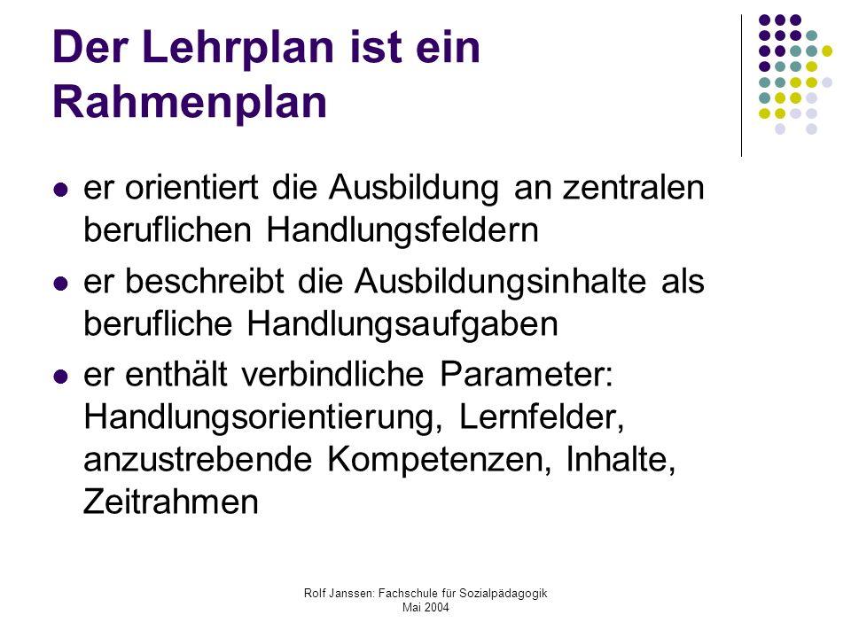 Rolf Janssen: Fachschule für Sozialpädagogik Mai 2004 Der Lehrplan ist ein Rahmenplan er orientiert die Ausbildung an zentralen beruflichen Handlungsf