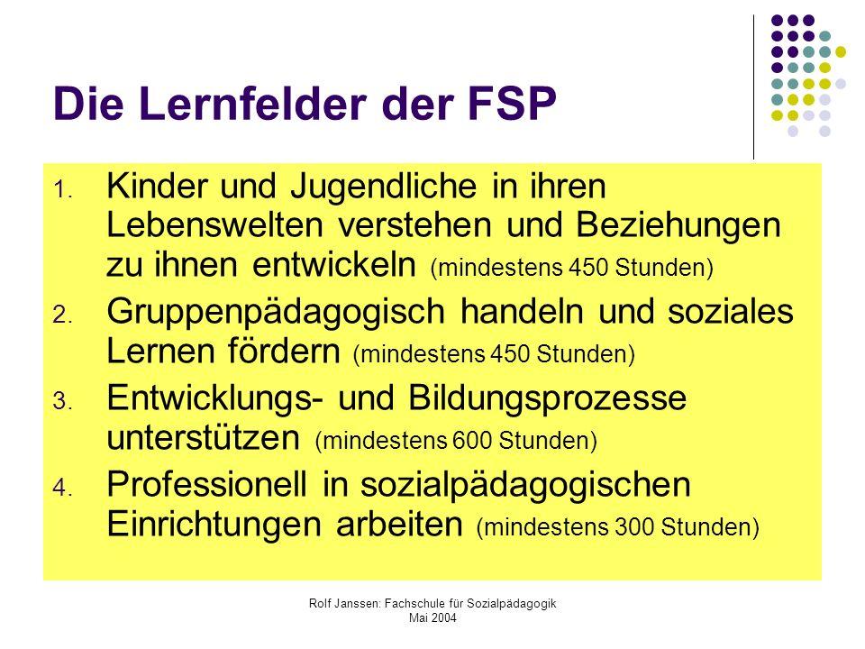 Rolf Janssen: Fachschule für Sozialpädagogik Mai 2004 Die Lernfelder der FSP 1. Kinder und Jugendliche in ihren Lebenswelten verstehen und Beziehungen