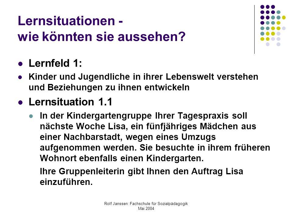 Rolf Janssen: Fachschule für Sozialpädagogik Mai 2004 Lernsituationen - wie könnten sie aussehen? Lernfeld 1: Kinder und Jugendliche in ihrer Lebenswe