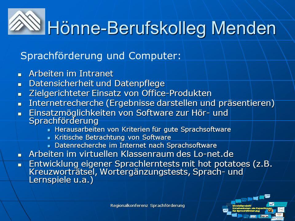 Regionalkonferenz Sprachförderung Hönne-Berufskolleg Menden Arbeiten im Intranet Arbeiten im Intranet Datensicherheit und Datenpflege Datensicherheit
