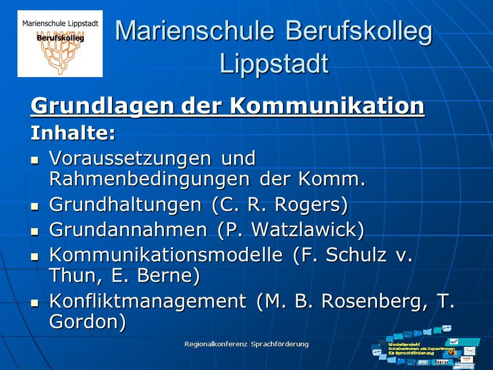 Regionalkonferenz Sprachförderung Marienschule Berufskolleg Lippstadt Grundlagen der Kommunikation Inhalte: Voraussetzungen und Rahmenbedingungen der