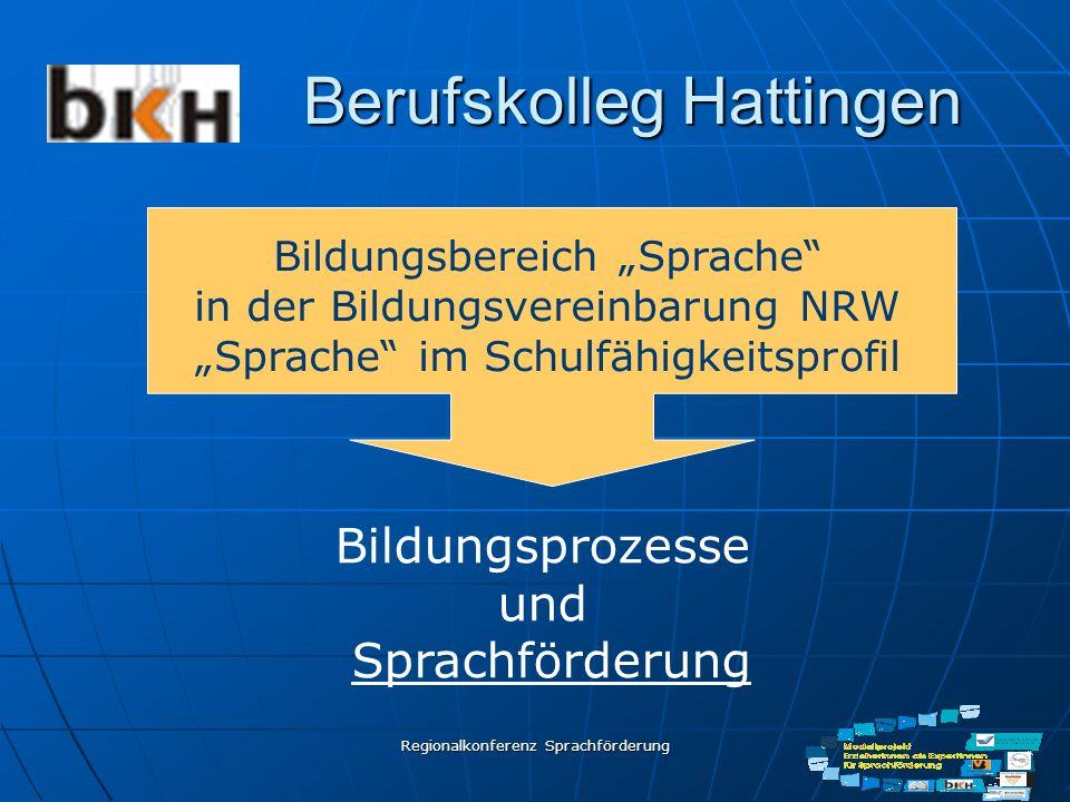 Regionalkonferenz Sprachförderung Berufskolleg Hattingen Bildungsprozesse und Sprachförderung Bildungsbereich Sprache in der Bildungsvereinbarung NRW