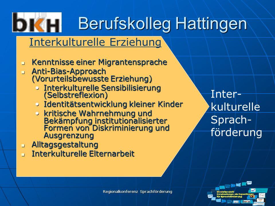 Regionalkonferenz Sprachförderung Berufskolleg Hattingen Kenntnisse einer Migrantensprache Kenntnisse einer Migrantensprache Anti-Bias-Approach (Vorur