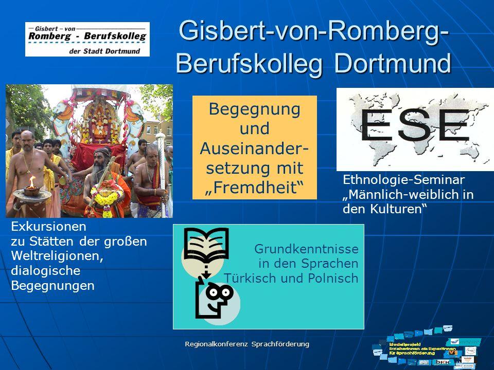 Regionalkonferenz Sprachförderung Gisbert-von-Romberg- Berufskolleg Dortmund Begegnung und Auseinander- setzung mit Fremdheit Exkursionen zu Stätten d