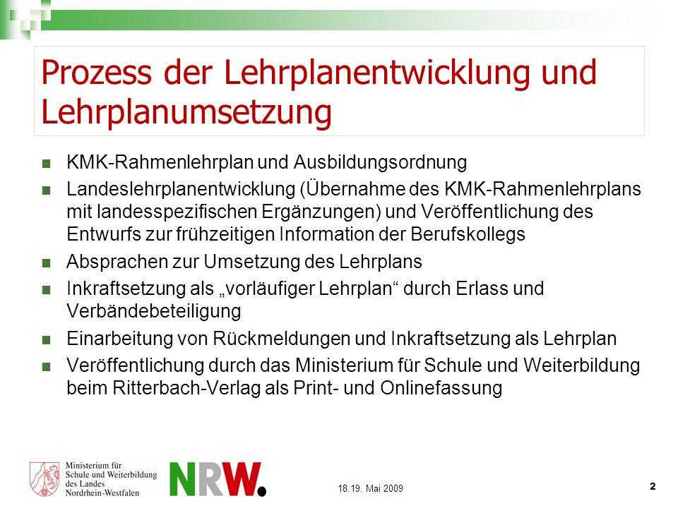 2 18.19. Mai 2009 Prozess der Lehrplanentwicklung und Lehrplanumsetzung KMK-Rahmenlehrplan und Ausbildungsordnung Landeslehrplanentwicklung (Übernahme
