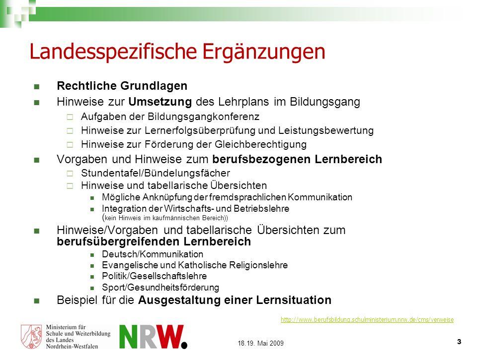 3 18.19. Mai 2009 Landesspezifische Ergänzungen Rechtliche Grundlagen Hinweise zur Umsetzung des Lehrplans im Bildungsgang Aufgaben der Bildungsgangko