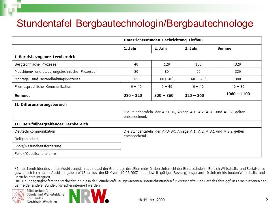 5 18.19. Mai 2009 Stundentafel Bergbautechnologin/Bergbautechnologe Unterrichtsstunden Fachrichtung Tiefbau 1. Jahr2. Jahr3. JahrSumme I. Berufsbezoge