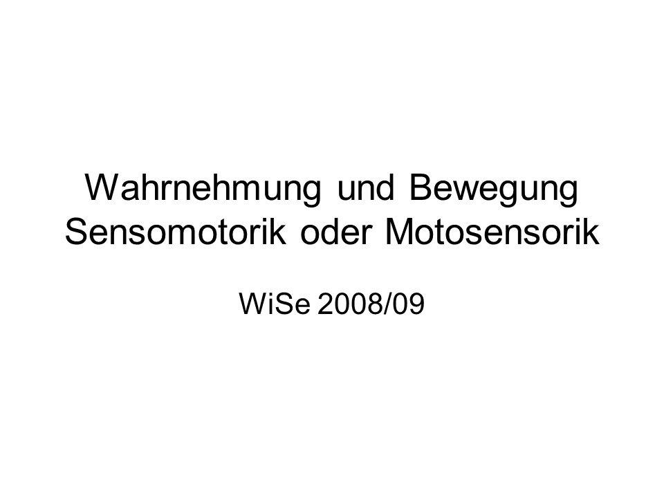 Wahrnehmung und Bewegung Sensomotorik oder Motosensorik WiSe 2008/09
